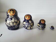 Matryoshka Wood Folk Art Russian Nesting Dolls 4 pcs. Blue & Cream 3� w/Bonus!