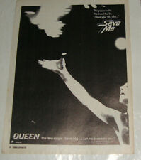 QUEEN: SAVE ME - MUSIC ADVERT POSTER 1980! - 28 X 21.7CM