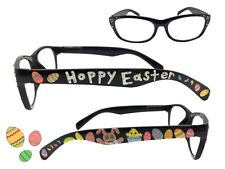 Black 2.75 Strength Easter Reading Glasses with Bunny, Chick, Eggs, Jelly Beans