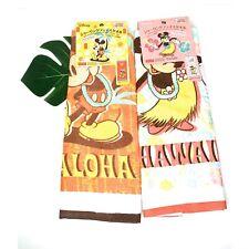Disney Hawaii Mickey & Minnie Hula Handtowel Set His & Hers Hand Towel Cloth NEW