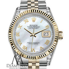 Woman size Rolex 31mm Datejust 18K 2Tone White MOP Mother Of Pearl Roman Numeral