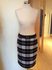 Gerry Weber Skirt Size 12 BNWT Black Winter White Brown Check RRP £95 Now £38