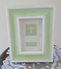 4 x 6 Pale Green Shabby Chic Wood Easel Back Frame with Glass