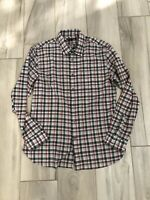 John Varvatos Mens Shirt L Plaid Button Up Long Sleeve Red Gray