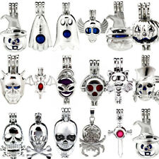 17X Silver Halloween Pumpkin Party Skull Ghost Pearl Beads Cage Locket Pendant