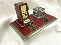 Antique Desk Set Ink Well Perpetual Flip Calendar Tin Plate Original Art Deco