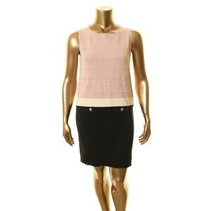 ANNE KLEIN NEW Women's Colorblocked Faux Pocket Knit Sheath Dress TEDO