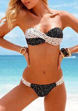 Fashoin Strapless Stretch Open Padded Cups Bikini Sets Swimwear Small