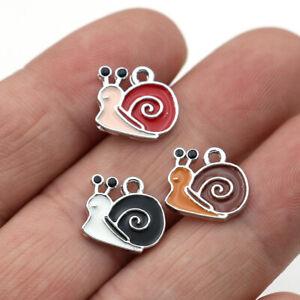 10Pc Enamel Snail Charm Pendant Jewelry Making Bracelet Earrings DIY Accessories