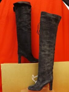 NIB LOUBOUTIN ALTA GANT 85 CHARCOAL GRAY SUEDE OVER THE KNEE  BOOTS 39.5 $1995