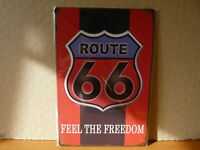 PA83F PLAQUES TOLEE vintage 20 X 30 cm : ROUTE 66 feel the freedom rouge & noir