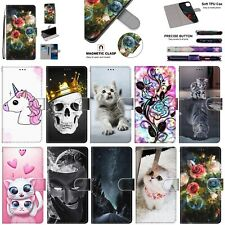 For Sony 10 L3 L2 X OnePlus 7 Meizu M6 Patterns Leather Wallet Stand Case Cover