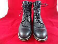 Justin Junior Cowboy Boots Size 6 M Black Faux Leather Western Roper Lace Up !!