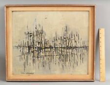EFRAIM MODZELEVICH Israeli Modernist Abstract Expressionist Cityscape Painting