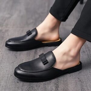 Mens Round Toe Fashion Mules Flats Half Slippers Slip On Loafers Casual Shoes