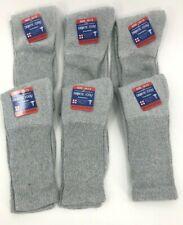 New Diabetic Crew Socks Circulatory Health Cotton Loose Fit Top 6 Pairs  Gray