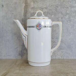 Vintage Zeh Scherzer Coffee Pot Teapot Bavaria White Porcelain Floral 1930s-1945