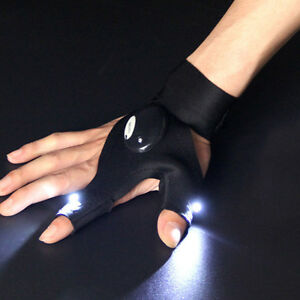 LED Light Gloves Finger Auto Repair with Flashlights Outdoors Camping Fishing