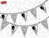 Paw Print Kitten Love Black and White Theme Bunting Banner party by PARTY DECOR