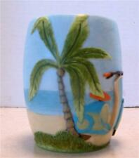 BAMBOO BAY Tropical Bath Tumbler Palm Tree Beach Resort Sand Ocean Sailboat NEW