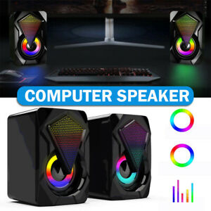 Surround Sound Speakers Wired for Desktop Computer Gaming Bass USB System LED PC