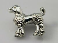 Vintage Miniature Poodle Dog Brooch Lapel Pin Silver Tone Metal Figural Shiny!