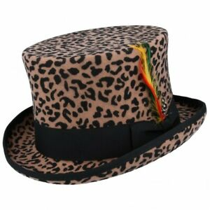 Quality Made 100% Wool Leopard Top Hat Steampunk Topper