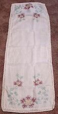 Vintage Table Runner Embroidered Maroon Cross Stitch Flowers