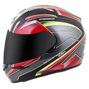 Scorpion EXO-R410 Kona Full Face Motorcycle Helmet Red/Neon Adult Sizes