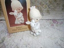 Precious Moments Ornament Baby's First 1st Christmas Girl/Bunny 1980 1981 1982