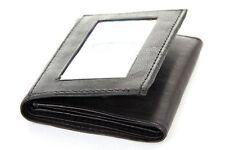 Trifold Double Bill 6 Credit Card 2 ID Window Men's Wallet Black