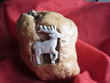 Maserknolle mit geschnitzt Hirsch aus Hirschhorn