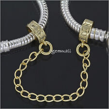 14kt Gold Over 925 Silver European Charm Bracelet Stopper Safety Chain #51820