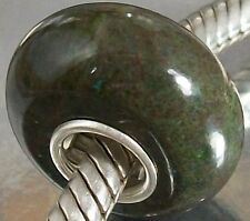 NATURAL STONE CHARM BEAD very dark green Tone with 925 SILVER single CORE