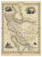 Persia Iran Tehran Isfahan Persian Gulf illustrated map John Tallis ca.1851