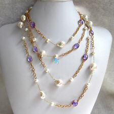 """80"""" 7-14mm White Kasumi Drop Freshwater Pearl Purple Crystal Chain Necklace"""