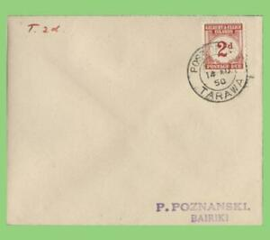 Gilbert & Ellice Islands 1950 2d 'Postage due' on cover with Tarawa cancel