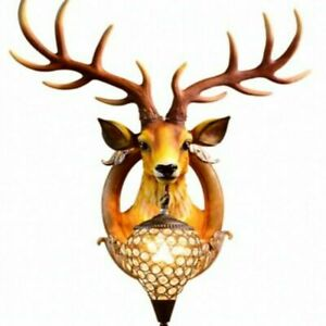 Modern Deer Head Wall Lamp Resin Deer Antler Bedroom Corridor Wall Fixture