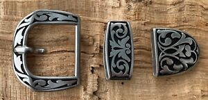 "Western/Amish Engraved Stainless Belt Buckle Set - Buckle, Keeper & Tip 1 1/2"""