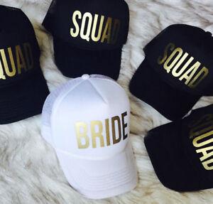 BRIDE SQUAD Snapback Caps Hats Hip Hop Crew Hen Night Party Gold Summer Sun Hat