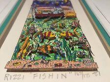 """James Rizzi: original 3D """"FISHIN'"""", handsigniert, gerahmt, 1987, Rarität"""