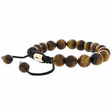 Real Tiger's Eye Bead Pull Tied Shamballa Bracelet with 18K Plated Metal Spacer