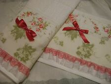Cottage Chic Custom Decorative Hand Towel pink & green roses lace ruffle bow