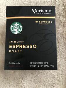 Starbucks Verismo Espresso Pods Dark Roast 1 BOX,  12 PODS EXP MAY 22 2021