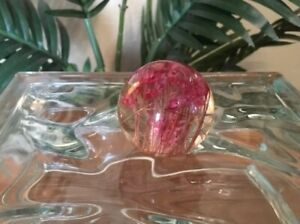 Vintage Mid Century Clear Lucite Ball with Dried Pink Flowers Drawer Pull Knob