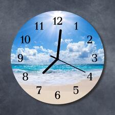 Glass Wall Clock Kitchen Clocks 30 cm round silent Sea Blue