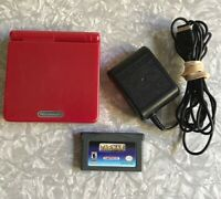Nintendo Game Boy Advance SP Flame Red + Pac-Man, Charger Clean & TESTED Gameboy