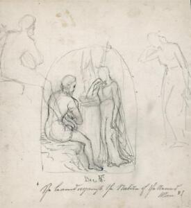 ELMA MARY GOVE (1832-1921) - Pencil Drawing RELIGIOUS SCENES - AMERICAN ARTIST