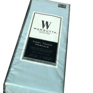 New BLUE Wamsutta Cool Touch Percale 350TC 100% Egyptian Cotton QUEEN Flat Sheet