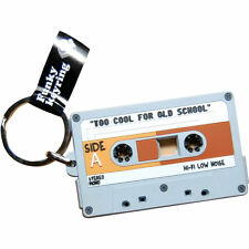 NEW PVC AUDIO CASSETTE TAPE 80s KEYRING METAL LOOP RUBBER NOVELTY KEYCHAIN GIFT